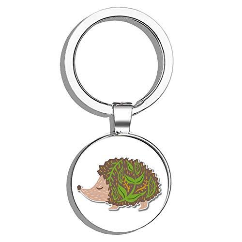 Cute Hedgehog Forest Theme Metal Round Metal Key Chain Keychain Ring