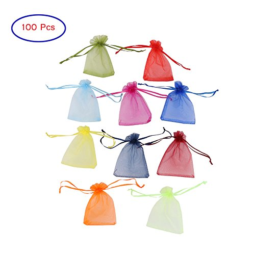 Zamango Wedding Festival Decorative Gift Organza Drawstring Bag Jewelry Pouch Party Favor Bag Candy Package (100pcs Assorted Color) -