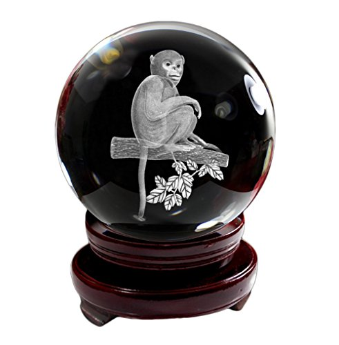 IFOLAINA Crystal Glass Ball 3D Laser Engraving Chinese Zodiac Signs Monkey Clever Home Decoration with Wooden Stand 80mm -