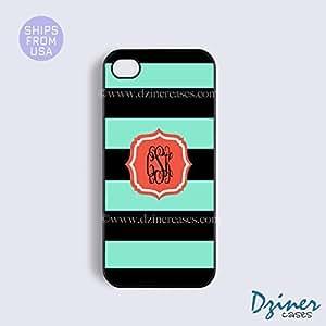 Monogrammed iPhone 5c Case - Green Black Stripes Orange iPhone Cover