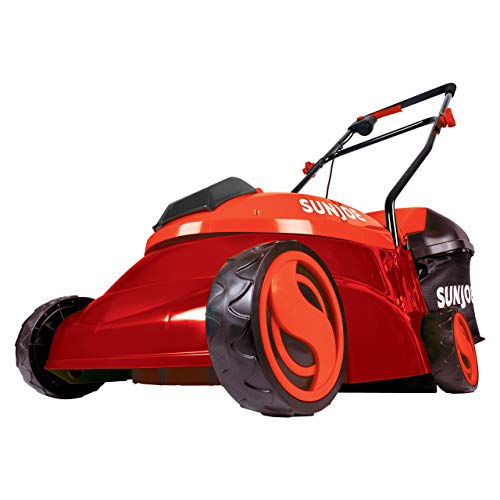 Sun Joe MJ401C-XR-RED 14-Inch 28V 5 Ah Cordless Lawn Mower w/Brushless Motor, Red (Renewed)
