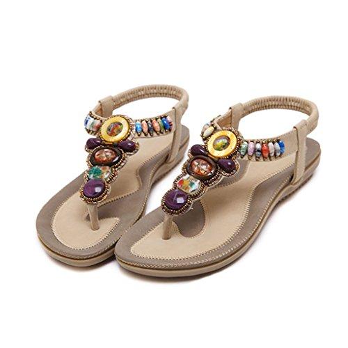 LIXIONG Portátil Sandalias femeninas altas del verano de los 2cm Zapatos planos dulces y cómodos Zapatos ocasionales de las señoras -Zapatos de moda ( Color : D , Tamaño : 35 ) A