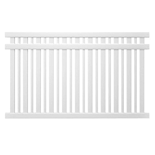 Pro Series 5 ft. x 8 ft. Vinyl Lafayette Spaced Picket Fence Panel - Unassembled