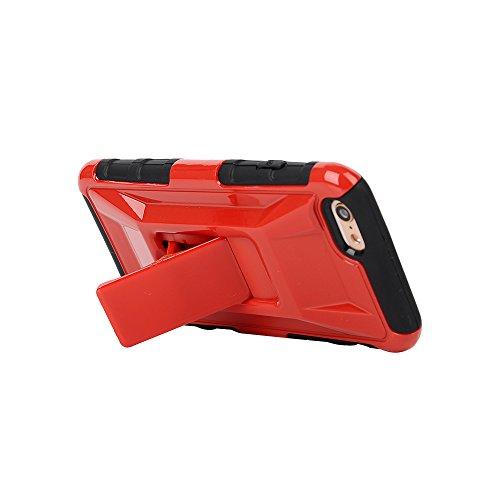 """MOONCASE iPhone 6 Case Dual Layer Hart Weich Hybrid Schutzhülle Etui Hülle Schale Case Cover für iPhone 6 (4.7"""") ausklappbarer Ständer Funktion Rot"""
