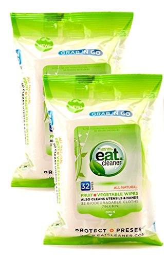 Eat Cleaner Biodegradable Food Grade Wipes (64 ct) Remove Harmful Bacteria and Chemicals, Perfect Partner to Eat Cleaner Veggie Wash Spray,(2 32-Packs))