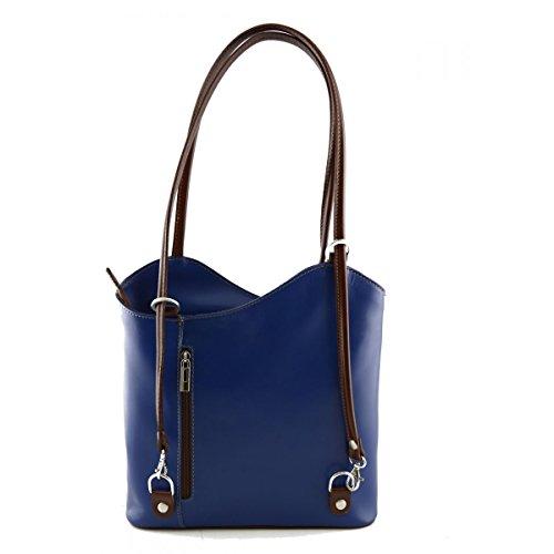 Borsa A Tracolla In Pelle Colore Blu E Marrone - Pelletteria Toscana Made In Italy - Borsa Donna