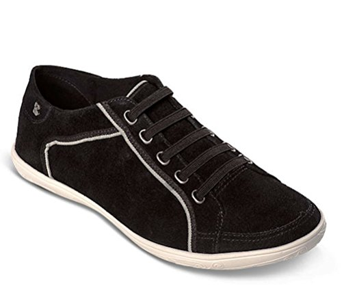 Bottero Womens Leather Nubuck Sneakers, Black, 9 B(M) US
