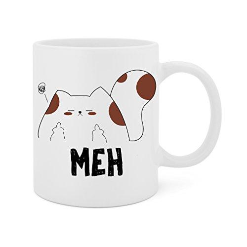 Meh (Unamused Cat) - 11 Oz White Ceramic Glossy Mug With Large C-handle (Microwave and Dishwasher (Lover 11 Oz White Mug)