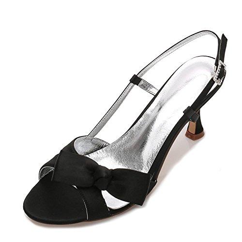 L@YC Women Peep Toe E17061-19 Ribbons Satin Low Heels Bridesmaid Wedding Bridal Court Shoes Black jmjVTpG