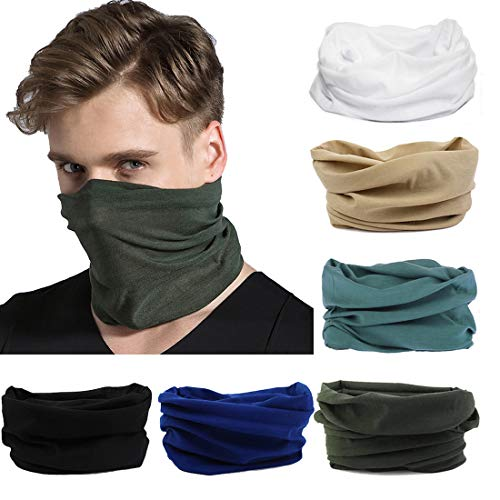FAYBOX 6pcs Magic Wide Wicking Headbands For Men and Women Outdoor Headwear Bandana Sports Scarf Tube UV Face Mask for Workout Yoga Running 02 ()