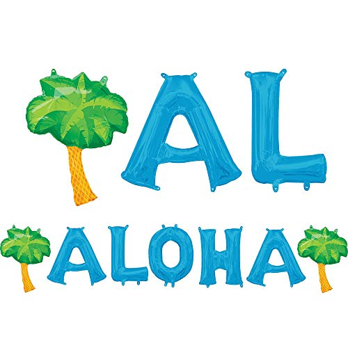 Anagram International Air-Filled Blue Aloha Letter Balloons with Pennant Banner, Foil, Self-Sealing, Reusable ()
