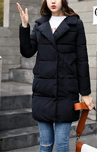 Ladies Winter Gi�� Addensato Longsleeve Saoye Libero Schwarz Parka Elegante Trapuntato Cappotto Warm Capispalla Pieni Colori Fit Long Tempo Fashion af1qwEv5