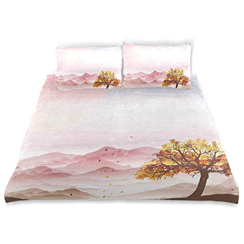 - YCHY Decor Duvet Cover Set, Romantic Rainy Sunny Day with Windy Mountains Solitude is Bliss Them A Decorative 3 Pcs Bedding Set with Pillowcases, Twin/Twin XL