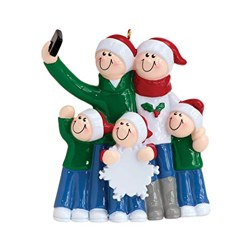 Personalized Selfie Family of 5 Christmas Tree Ornament 2019 - Mother Father Child Take Self-Portrait Photo Smartphone Share via Social Media Hug Memory Holiday Dated Year Gift - Free Customization (Cat Christmas Family Portrait)