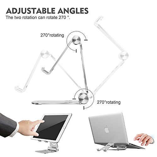 3-in-1-Portable-Foldable-Adjustable-Cell-Phone-Stand-Tablet-Stand-Pasonomi-Aluminum-Cradle-Holder-Stand-for-iPhone-iPad-Tablets-Macbook-Laptops-Silver