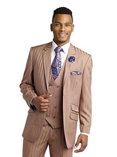 Exclusive Fit EJ Samuel Taupe Shadow Striped 3 Piece Mens Suits M2687 Suit Men (48 R) Outfit (70s Outfits For Men)