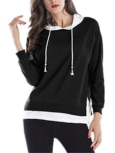 Elegante Con Lunghe Colore Dell'incantesimo Moda Due Falso Black Pullover Donna Felpa Cappuccio Maniche Sweatshirt Kerlana Hoodies TwEYgfqX