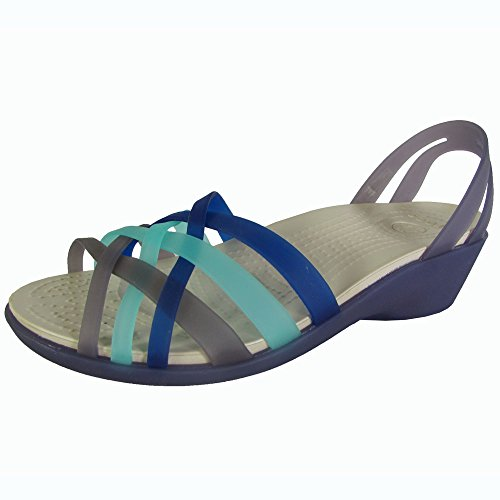 e Mini Wedge Sandal Shoes, Nautical Navy/Aqua, US 5 (Aqua Wedges)