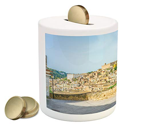 Ambesonne Sicily Piggy Bank, Modica Italy Tourism Island Attraction Historical Landmark Houses Mountain Valley, Printed Ceramic Coin Bank Money Box for Cash Saving, Multicolor