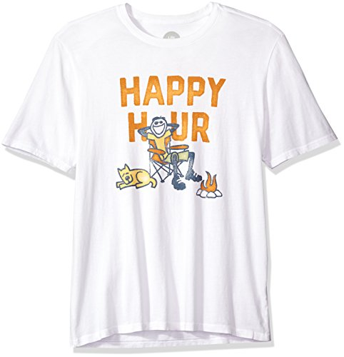 Life is good Men's Smooth Tee Happy Hour Camp Cldwht T-Shirt, Cloud White, - Mens Hour