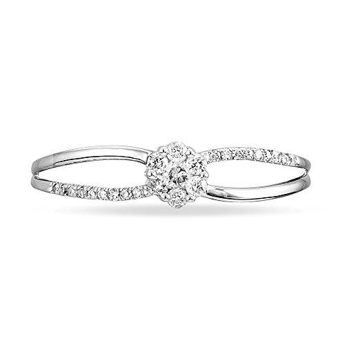 HISTOIRE D'OR - Bague Solitaire Or Blanc et Diamants - Femme - Or blanc 375/1000
