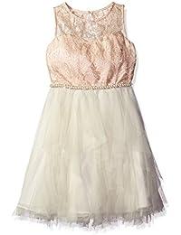 Girls' Ivory/Pink Cascade Dress