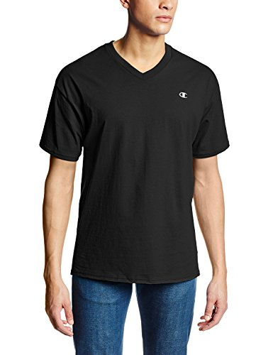 Champion Authentic Men's Jersey V-Neck T-Shirt_Black_X-Large