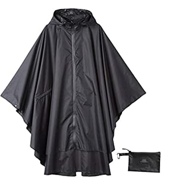 Krespuka Womens Rain Poncho Waterproof Raincoat with Hood Zipper Outdoor Hiking Biking - Black - One Size