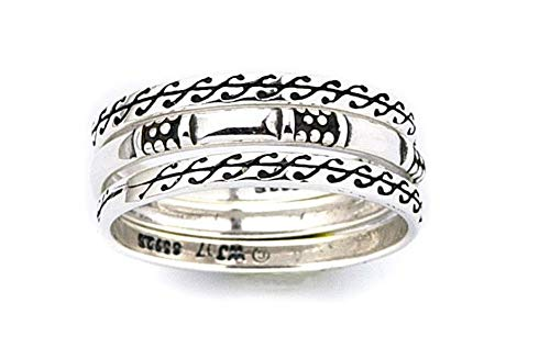 Jewelry Trends Scroll Design Stackable Ring Set Sterling Silver Size 7