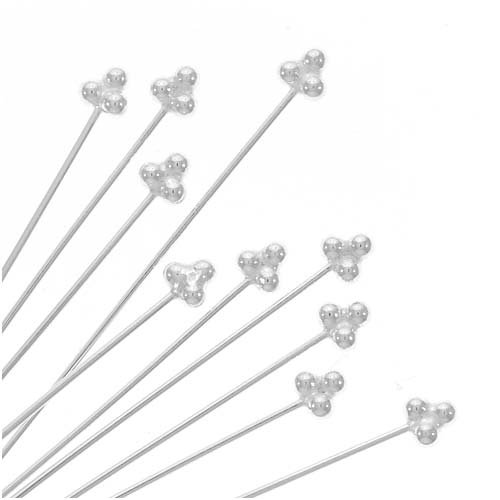 (Beadaholique Fancy Bali Style Silver 3-Ball Head Pins 1.5 in (10))
