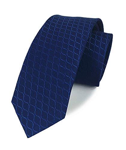 Men's Navy Blue Novelty Wave Jacquard Woven Silk Clip on Tie Business Formal Skinny Self Necktie
