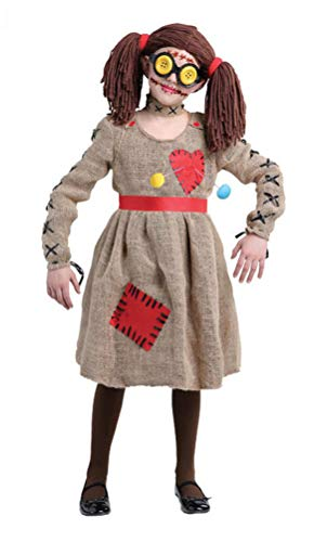 Voodoo Doll Costume Girls, Kids Halloween Scarecrow Cosplay Outfit Performance Wear (Tag Size-L)