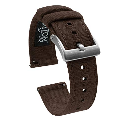 Barton Canvas Quick Release Watch Band Straps - Choose Color & Width - 18mm, 20mm, 22mm - Chocolate Brown ()