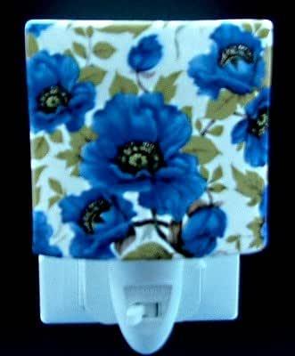 Blue Poppy Design Ceramic Night Light 13cm