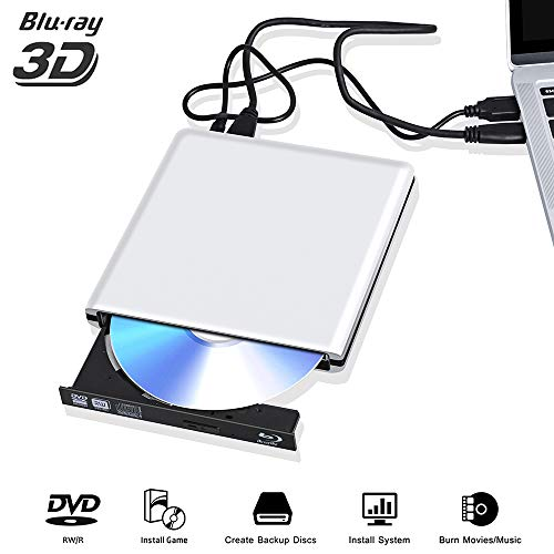 External Blu Ray DVD Drive 3D 4K, USB 3.0 Optical Bluray DVD CD Burner RW Player CD Row Rewriter Portable Compatible for MacBook OS Windows 7 8 10PC (Silver 0)