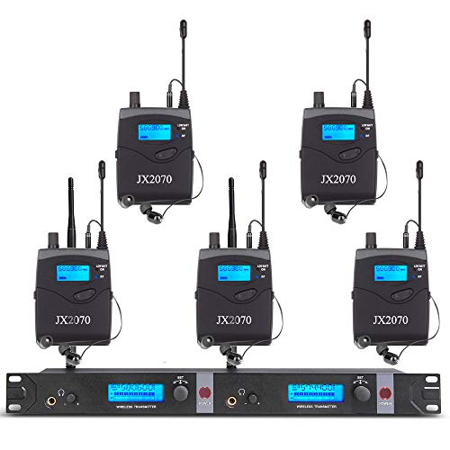 Wireless in Ear Monitor System Recording Headphone Studio Monitor Stage Pro Audio JX2070 UHF with 5 Receivers 2 Channel 80 Set Frequency Monitoring 572-603 MHz