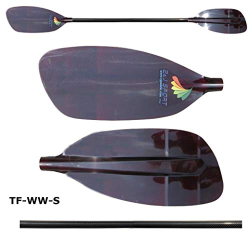 ZJ Sport New Whitewater Paddle with Red Fiberglass Blade and Carbon Shaft (Straight Shaft, ()