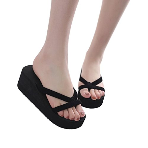 Price comparison product image Haoricu Clearance Women's Summer Fashion Sandals High Heel Flip Flops Beach Wedge Slipper Thick Sole Heeled Shoes