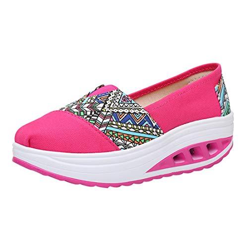 LINNUO Plataforma Zapatos Mujer Impreso Sneaker Cuña Casual Zapatillas de Deporte de Lona Running Mocasines Wedge Cómodos #19impreso