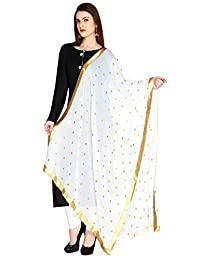 Dupatta Bazaar Woman's Embroidered Chiffon Dupatta Scarf Shawl Wrap Soft