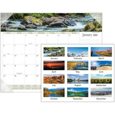 (Visual Organizer Products - Visual Organizer - Panoramic Landscape Monthly Desk Pad Calendar, 22 x 17 - Sold As 1 Each - Beautiful image each month. - Background design and color scheme coordinate with each image. - Features unruled daily blocks, lined note space and full year calendar reference blocks. - Three bonus pages with current year reference calendar, next year reference calendar, and dates to remember. - Four corner vinyl holder with chipboard backing.)