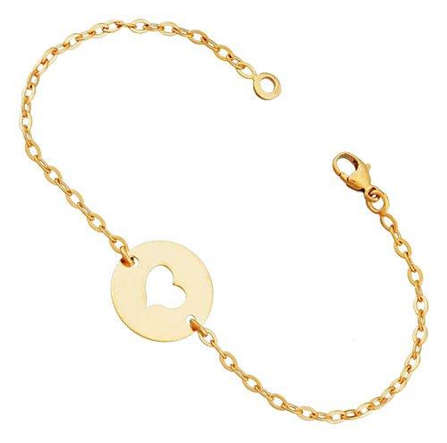 Orleo - REF4577BB : Bracelet Enfant Or 9K jaune - Coeur - Fabriqué en France