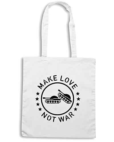 T-Shirtshock - Bolsa para la compra TM0501 make love no war Blanco