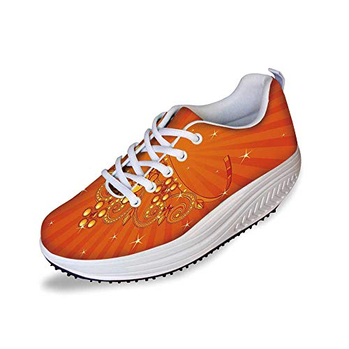 Queen Stylish Shake Shoes,Fancy Halloween Princess Crown with Little Skull Daisies on Radial Orange Backdrop Stars Decorative for Women,5 -