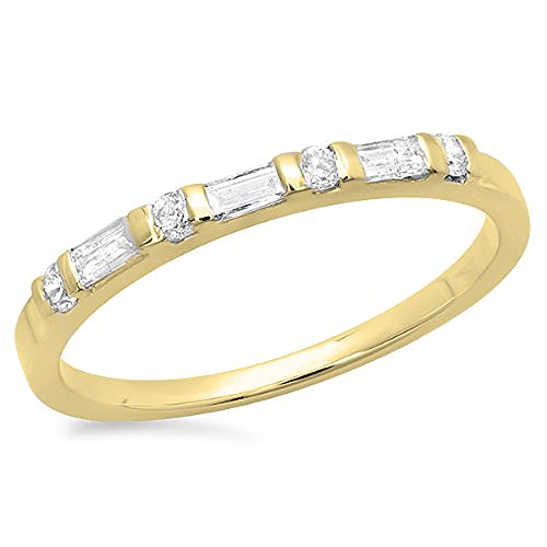 (Dazzlingrock Collection 0.20 Carat (ctw) 14K Round & Baguette Diamond Ladies Wedding Ring 1/5 CT, Yellow Gold, Size 8)