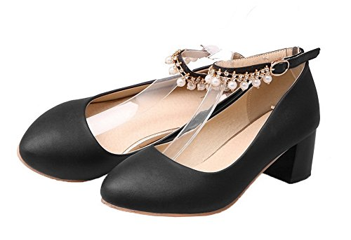WeenFashion Kitten PU Shoes Solid Black Heels Closed Pumps Toe Buckle Women's Round rZrta5x