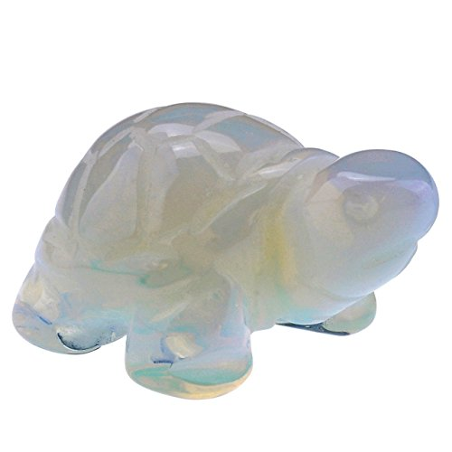 Turtle Figurine 36mm Hand Carved Gemstone Opalite Statue Stone 1.4