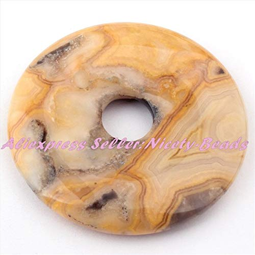 Pukido Natural Crazy Lace Agates Stone Beads Donut Gem Pandant 1 Pcs 30,40,50mm for Necklace Jewelry Making Accessories, (Color: -