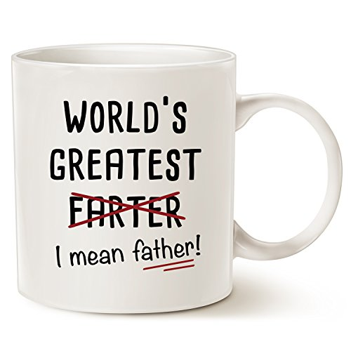 (MAUAG Fathers Day Gifts Funny Christmas Gifts Best Dad Coffee Mug, World's Greatest F, I Mean Father, Best Cute Birthday Gifts for Dad Cup White, 11 Oz )