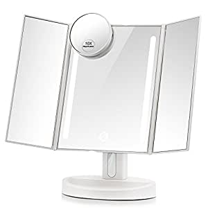 Amazon Com Leju Led Lighted Vanity Mirror Make Up Tri